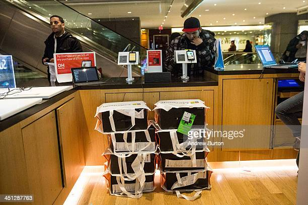 Stacks of the XBox One a new video game console and home entertainment system made by Microsoft are seen at a Microsoft 'popup shop' at the Time...