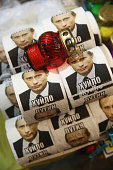 Stacks of toilet paper with the face of Russian President Vladimir Putin printed on them stand for sale at a kiosk on February 21 2015 in Kiev...