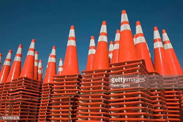 Stacks of traffic cones