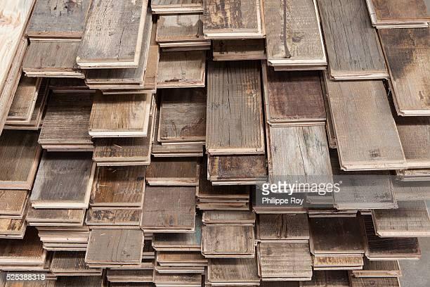 Stacks of treated wood flooring in factory, Jiangsu, China