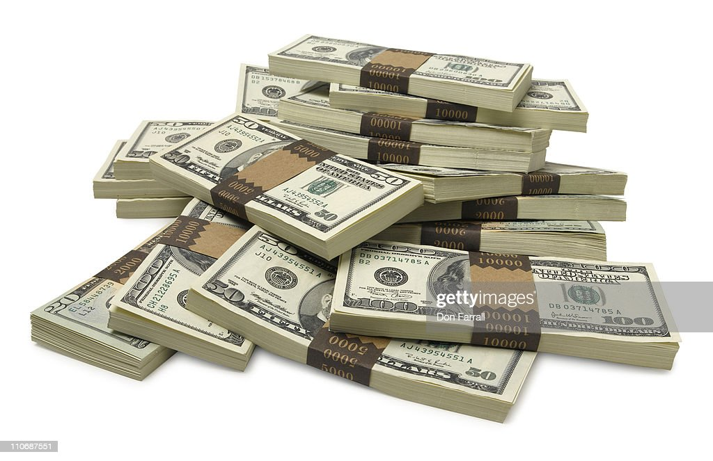 Stacks of US currency : Stock Photo