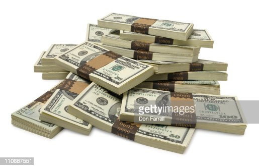 Stacks of US currency : Stockfoto