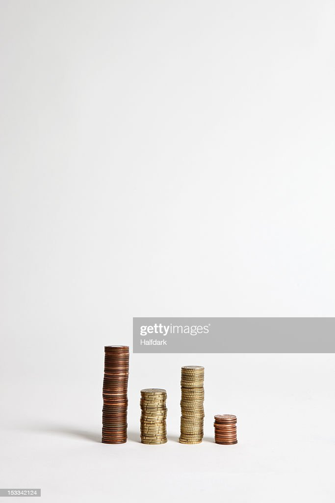 Stacks of various European Union coins : Stock Photo