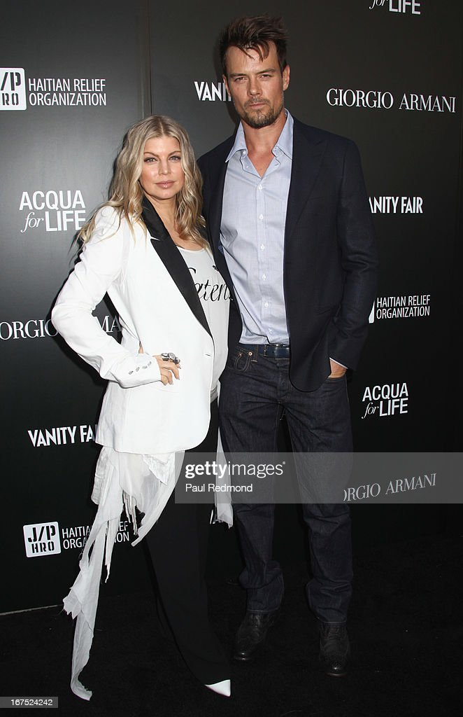 Stacy Ann Ferguson 'Fergie' and <a gi-track='captionPersonalityLinkClicked' href=/galleries/search?phrase=Josh+Duhamel&family=editorial&specificpeople=208740 ng-click='$event.stopPropagation()'>Josh Duhamel</a> arrive at the Armani party during Paris Photo LA - Opening Night at Paramount Studios on April 25, 2013 in Hollywood, California.
