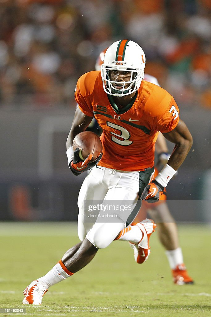 Stacy Coley #3 of the Miami Hurricanes runs for a touchdown against the Savannah State Tigers on September 21, 2013 at Sun Life Stadium in Miami Gardens, Florida.