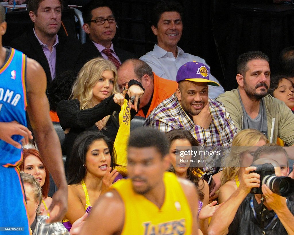 Stacy Ferguson attends the Los Angeles Lakers and Denver Nuggets game 7 of the Western Conference Quarterfinals in the 2012 NBA Playoffs on May 18, 2012 in Los Angeles, California.