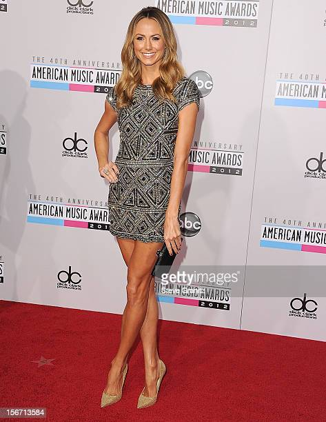 Stacy Keibler arrives at the 40th Anniversary American Music Awards at Nokia Theatre LA Live on November 18 2012 in Los Angeles California