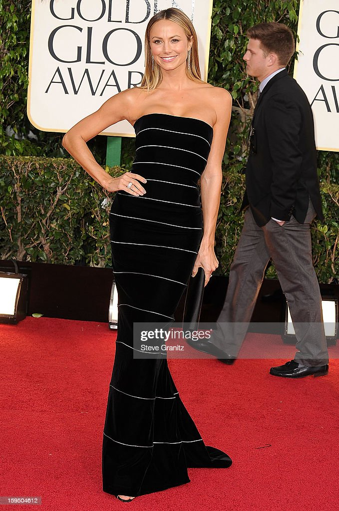 Stacy Keibler arrives at the 70th Annual Golden Globe Awards at The Beverly Hilton Hotel on January 13, 2013 in Beverly Hills, California.