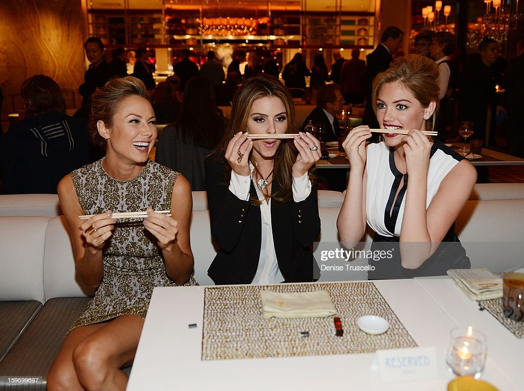 Stacy Keibler, Maria Menounos and Kate Upton attend Andrea's grand opening of Andrea's at Wynn Las Vegas on January 16, 2013 in Las Vegas, Nevada.