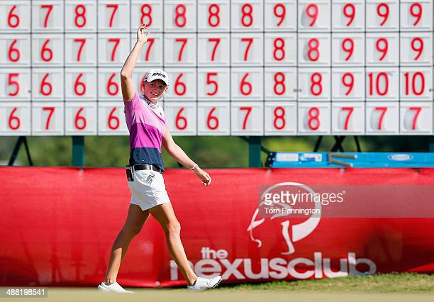 Stacy Lewis celebrates after sinking a birdie putt on the 18th green and winning the Final Round of the North Texas LPGA Shootout Presented by JTBC...