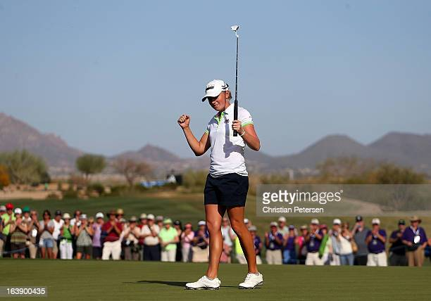 Stacy Lewis celebrates after winning the the RR Donnelley LPGA Founders Cup at Wildfire Golf Club on March 17 2013 in Phoenix Arizona