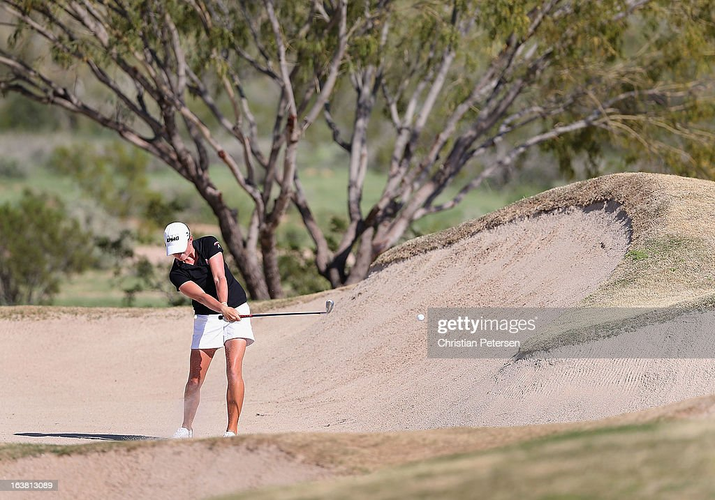 Stacy Lewis hits from the 16th hole bunker during the third round of the RR Donnelley LPGA Founders Cup at Wildfire Golf Club on March 16, 2013 in Phoenix, Arizona.