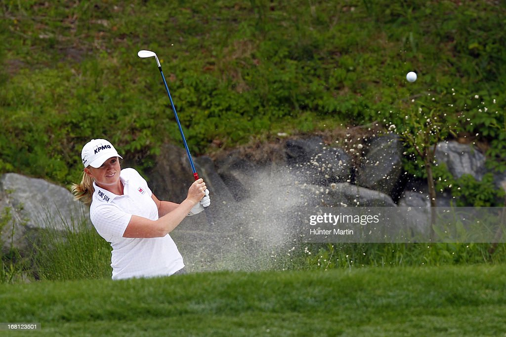<a gi-track='captionPersonalityLinkClicked' href=/galleries/search?phrase=Stacy+Lewis+-+Golfer&family=editorial&specificpeople=4217318 ng-click='$event.stopPropagation()'>Stacy Lewis</a> hits her second shot on the fifth hole during the final round of the Kingsmill Championship at Kingsmill Resort on May 5, 2013 in Williamsburg, Virginia.