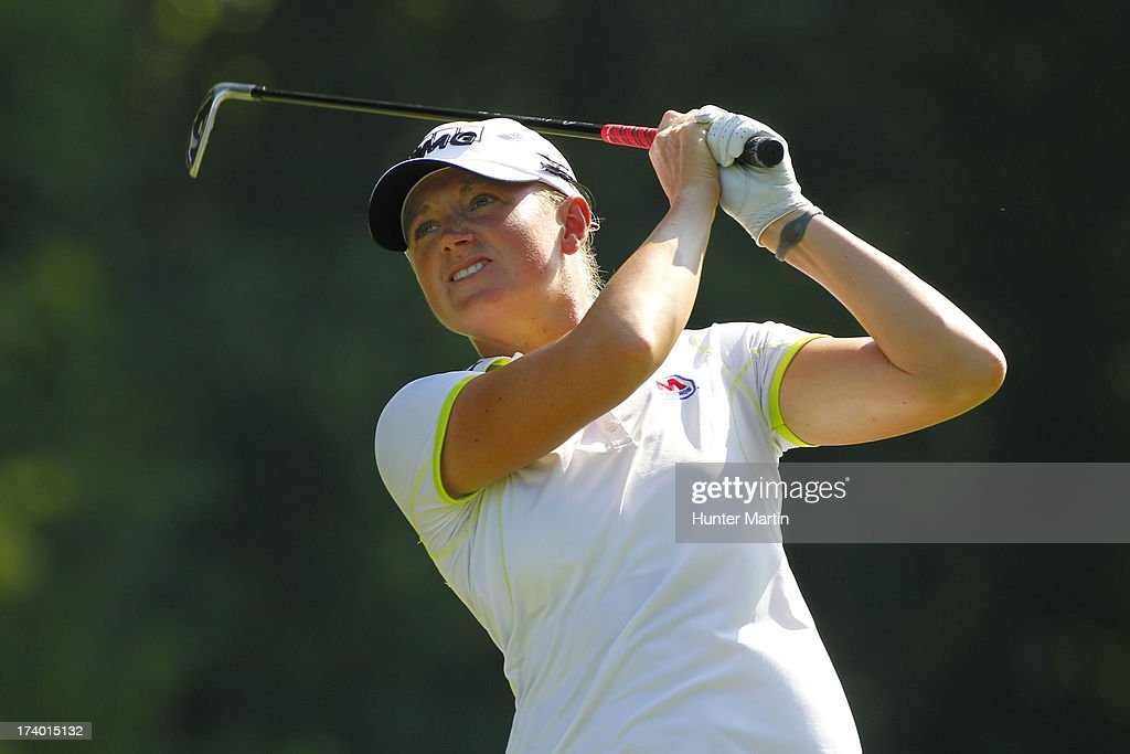 Stacy Lewis hits her tee shot on the eighth hole during round two of the Marathon Classic presented by Owens Corning & O-I on July 19, 2013 in Sylvania, Ohio.