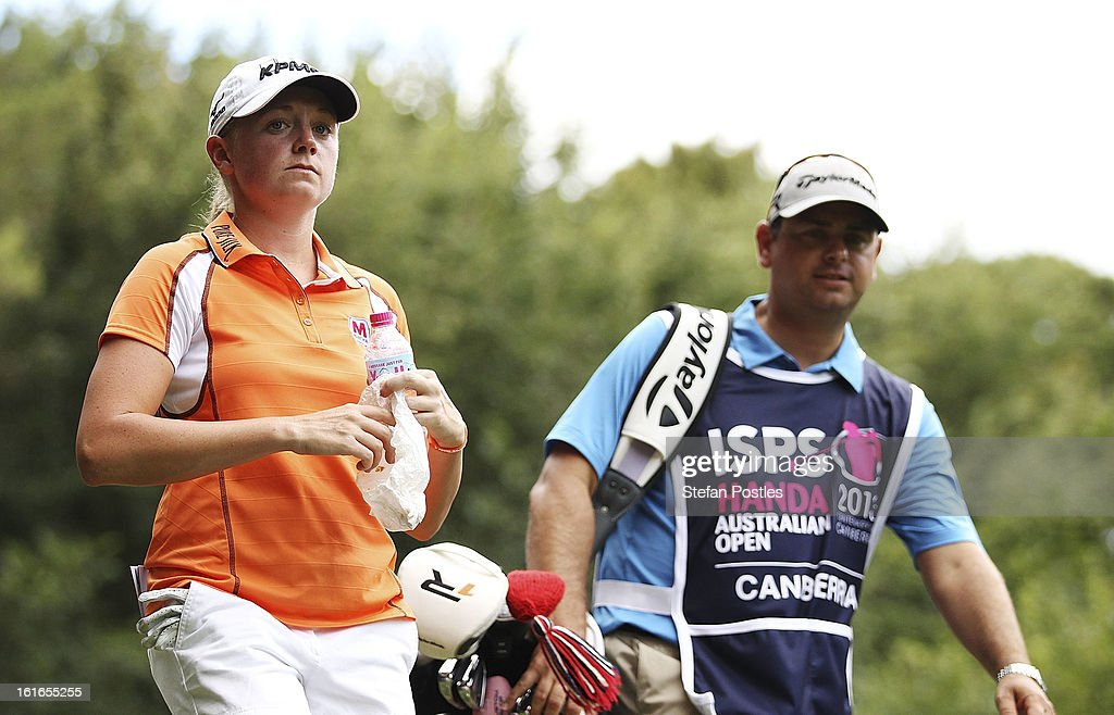 <a gi-track='captionPersonalityLinkClicked' href=/galleries/search?phrase=Stacy+Lewis&family=editorial&specificpeople=4217318 ng-click='$event.stopPropagation()'>Stacy Lewis</a> of the United States during day one of the ISPS Handa Australian Open at Royal Canberra Golf Club on February 14, 2013 in Canberra, Australia.