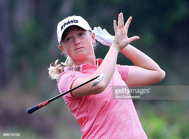 Stacy Lewis of the United States loses her club after a shot on the third hole during the third round of the CME Group Tour Championship at Tiburon...