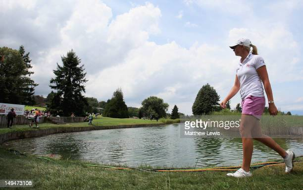 Stacy Lewis of the United States of America walks to the 6th tee during day four of the Evian Masters at the Evian Masters Golf Club on July 29 2012...