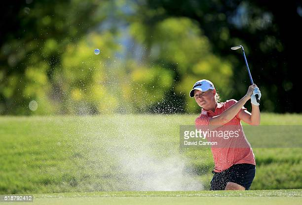 Stacy Lewis of the United States plays her third shot at the par 4 16th hole during the third round of the 2016 ANA Inspiration at the Mission Hills...