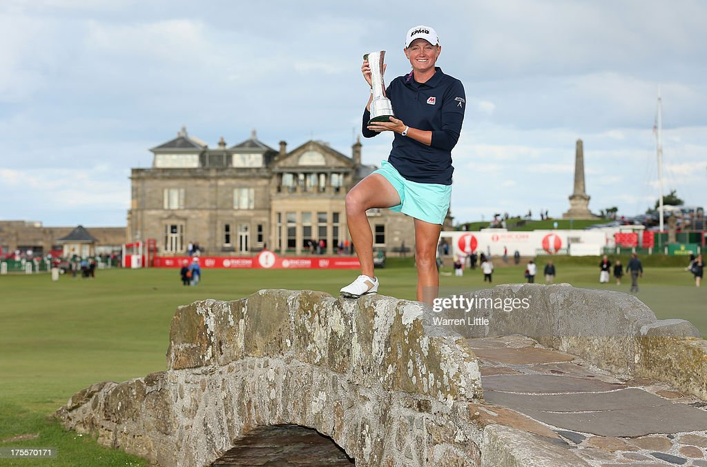 <a gi-track='captionPersonalityLinkClicked' href=/galleries/search?phrase=Stacy+Lewis&family=editorial&specificpeople=4217318 ng-click='$event.stopPropagation()'>Stacy Lewis</a> of the United States poses with the trophy on the Swilcan Bridge following her victory during the final round of the Ricoh Women's British Open at the Old Course, St Andrews on August 4, 2013 in St Andrews, Scotland.