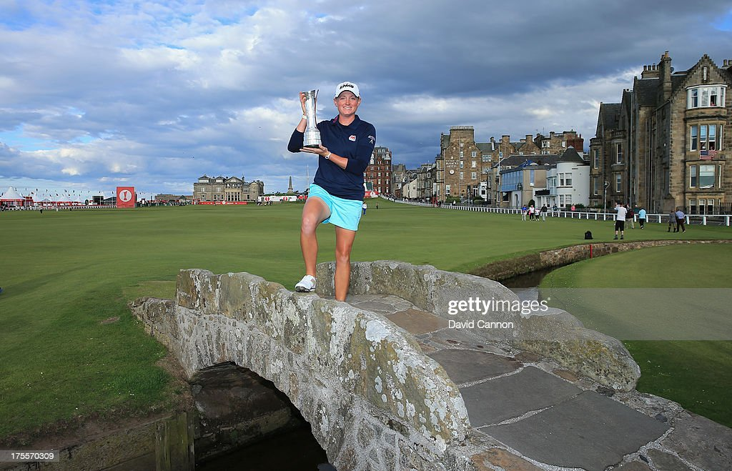 <a gi-track='captionPersonalityLinkClicked' href=/galleries/search?phrase=Stacy+Lewis+-+Golfer&family=editorial&specificpeople=4217318 ng-click='$event.stopPropagation()'>Stacy Lewis</a> of the United States poses with the trophy on the Swilcan Bridge following her victory during the final round of the Ricoh Women's British Open at the Old Course, St Andrews on August 4, 2013 in St Andrews, Scotland.