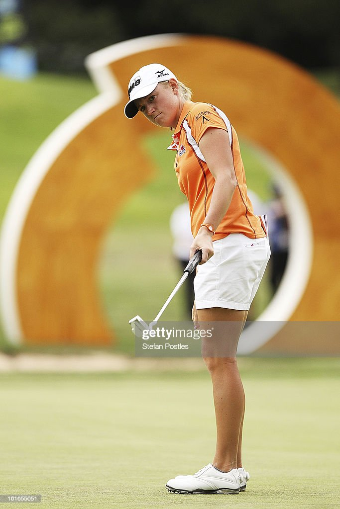 <a gi-track='captionPersonalityLinkClicked' href=/galleries/search?phrase=Stacy+Lewis&family=editorial&specificpeople=4217318 ng-click='$event.stopPropagation()'>Stacy Lewis</a> of the United States reacts to her putt on the 18th hole during day one of the ISPS Handa Australian Open at Royal Canberra Golf Club on February 14, 2013 in Canberra, Australia.
