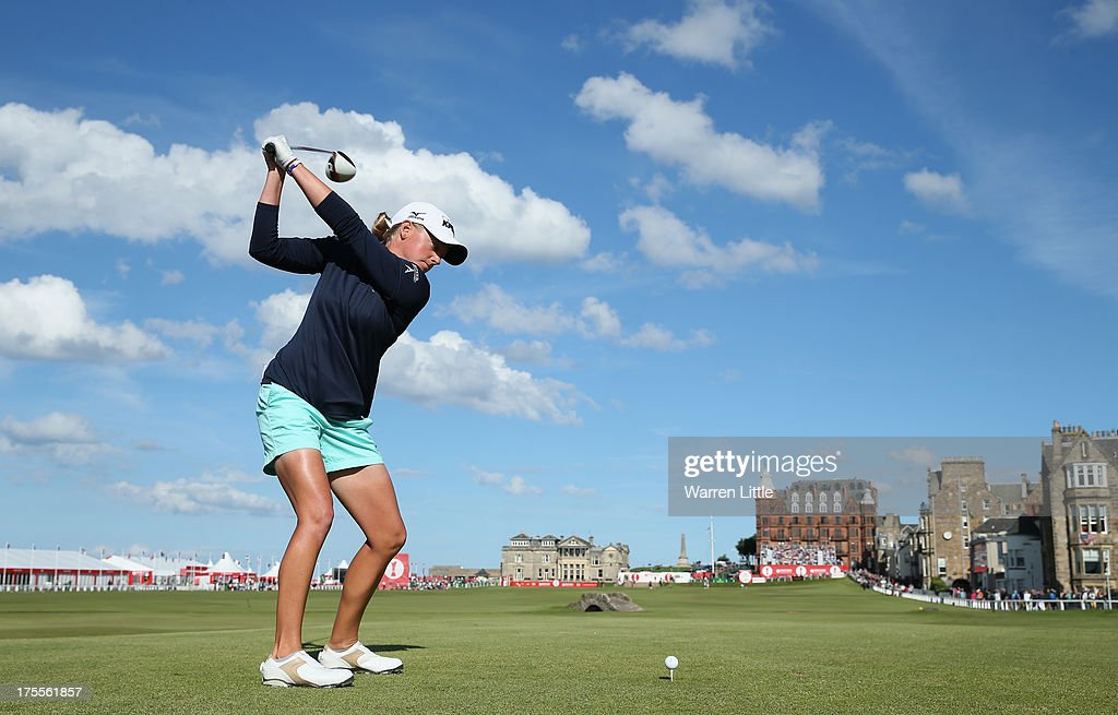 <a gi-track='captionPersonalityLinkClicked' href=/galleries/search?phrase=Stacy+Lewis&family=editorial&specificpeople=4217318 ng-click='$event.stopPropagation()'>Stacy Lewis</a> of the United States tees off on the 18th hole during the final round of the Ricoh Women's British Open at the Old Course, St Andrews on August 4, 2013 in St Andrews, Scotland.