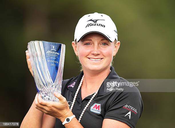 Stacy Lewis of the USA celebrates with the trophy after winning the Mizuno Classic at Kintetsu Kashikojima Country Club on November 4 2012 in Shima...