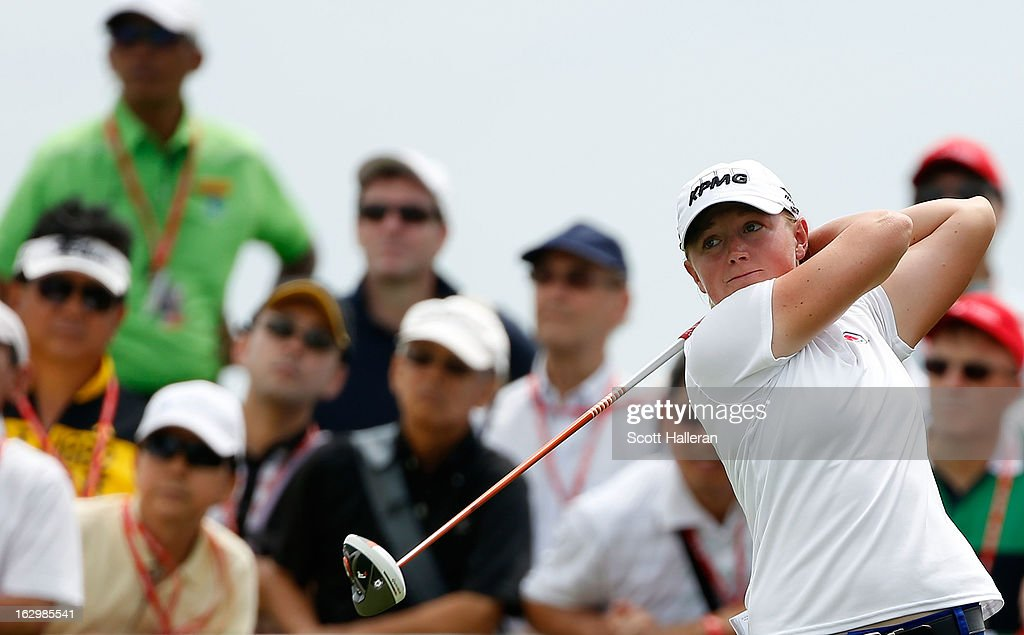 Stacy Lewis of the USA hits a tee shot during the final round of the HSBC Women's Champions at the Sentosa Golf Club on March 3, 2013 in Singapore, Singapore.