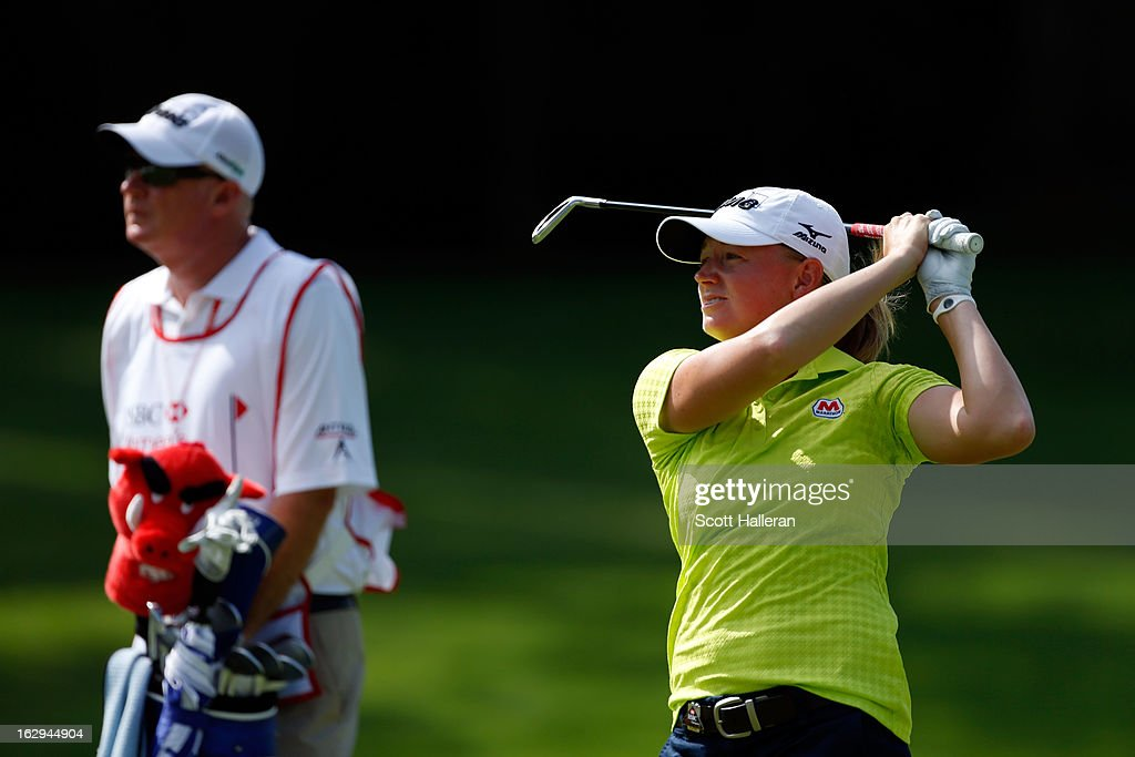 Stacy Lewis of the USA hits an approach to the 2nd hole during the third round of the HSBC Women's Champions at the Sentosa Golf Club on March 2, 2013 in Singapore, Singapore.