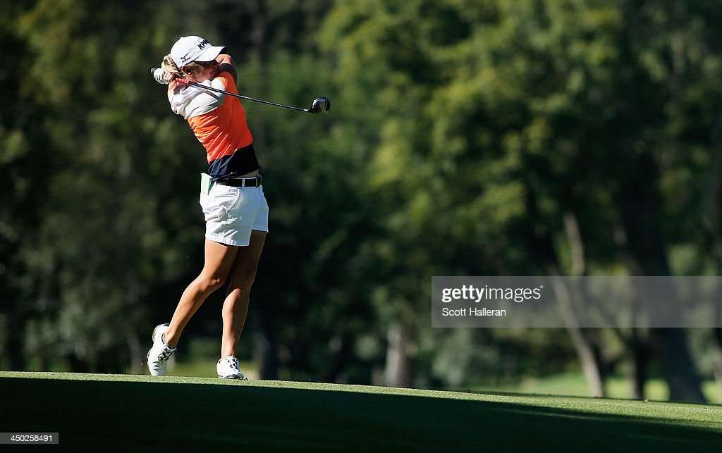 <a gi-track='captionPersonalityLinkClicked' href=/galleries/search?phrase=Stacy+Lewis&family=editorial&specificpeople=4217318 ng-click='$event.stopPropagation()'>Stacy Lewis</a> of the USA hits her approach shot to the 18th green during the final round of the Lorena Ochoa Invitational Presented by Banamex at the Guadalajara Country Club on November 17, 2013 in Guadalajara, Mexico.