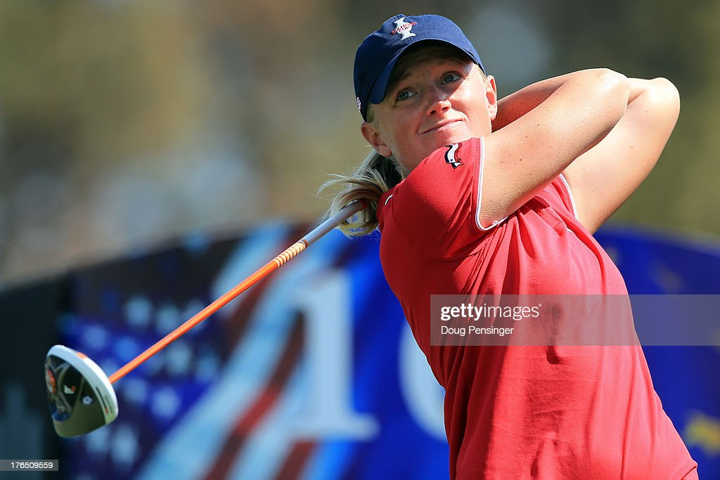 <a gi-track='captionPersonalityLinkClicked' href=/galleries/search?phrase=Stacy+Lewis&family=editorial&specificpeople=4217318 ng-click='$event.stopPropagation()'>Stacy Lewis</a> of the USA hits her tee shot on the 16th hole during a practice round for the 2013 Solheim Cup on August 14, 2013 at the Colorado Golf Club in Parker, Colorado.