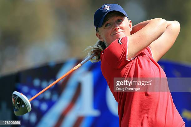 Stacy Lewis of the USA hits her tee shot on the 16th hole during a practice round for the 2013 Solheim Cup on August 14 2013 at the Colorado Golf...