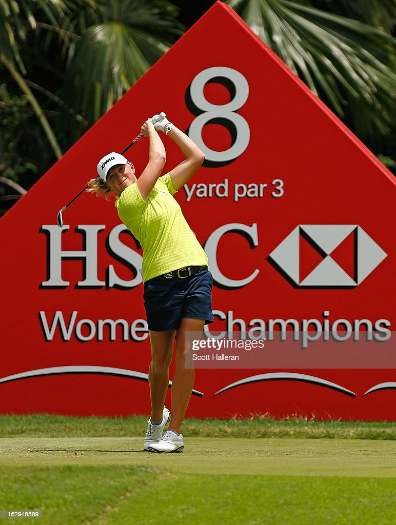 Stacy Lewis of the USA hits her tee shot on the 8th hole during the third round of the HSBC Women's Champions at the Sentosa Golf Club on March 2, 2013 in Singapore, Singapore.
