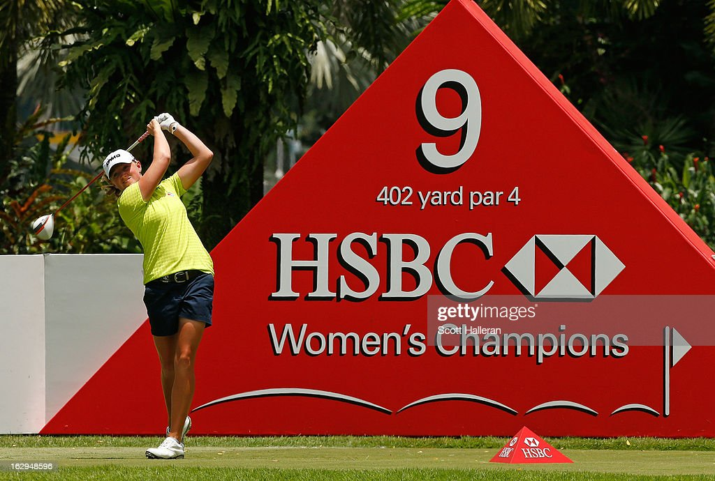 Stacy Lewis of the USA hits her tee shot on the 9th hole during the third round of the HSBC Women's Champions at the Sentosa Golf Club on March 2, 2013 in Singapore, Singapore.