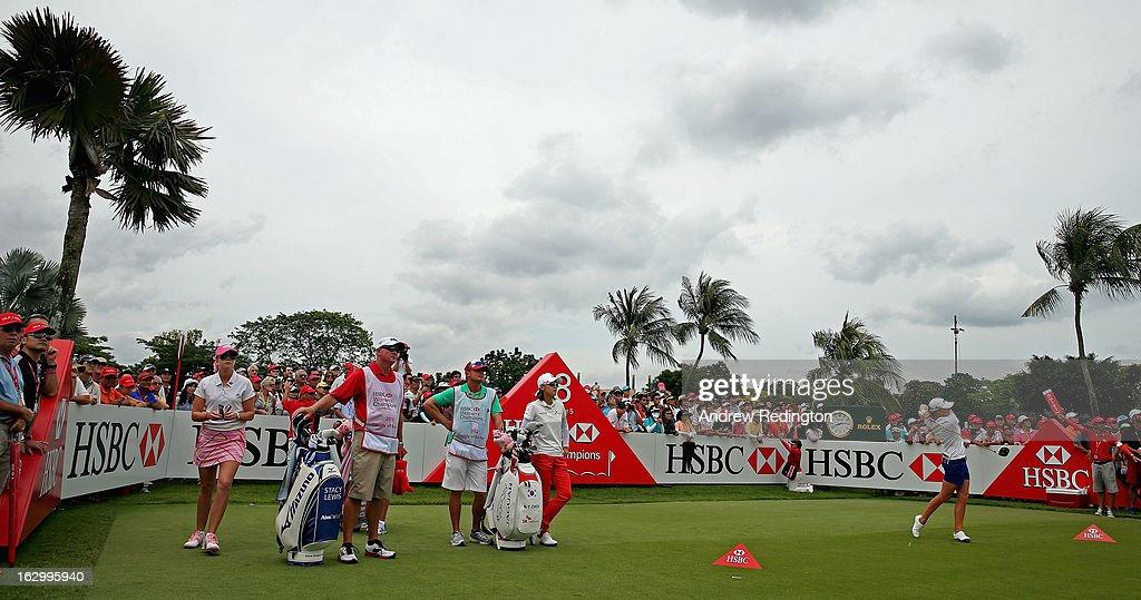 Stacy Lewis of the USA hits her tee-shot on the 18th hole during the final round of the HSBC Women's Champions at the Sentosa Golf Club on March 3, 2013 in Singapore, Singapore.