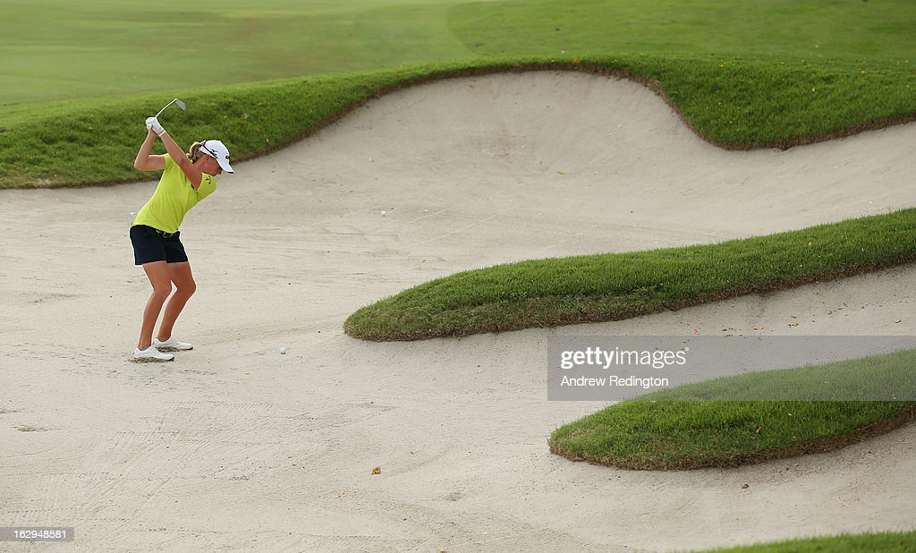 Stacy Lewis of the USA plays her second shot on the 15th hole during the third round of the HSBC Women's Champions at the Sentosa Golf Club on March 2, 2013 in Singapore, Singapore.