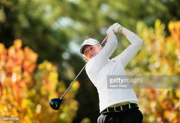Stacy Lewis of the USA tees off from the 2nd hole during the first round of Mizuno Classic at Kintetsu Kashikojima Country Club on November 2 2012 in...
