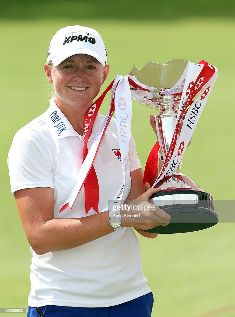 <a gi-track='captionPersonalityLinkClicked' href=/galleries/search?phrase=Stacy+Lewis+-+Golfer&family=editorial&specificpeople=4217318 ng-click='$event.stopPropagation()'>Stacy Lewis</a> of the USA with the winners trophy after the final round of the HSBC Women's Champions at the Sentosa Golf Club on March 3, 2013 in Singapore, Singapore.