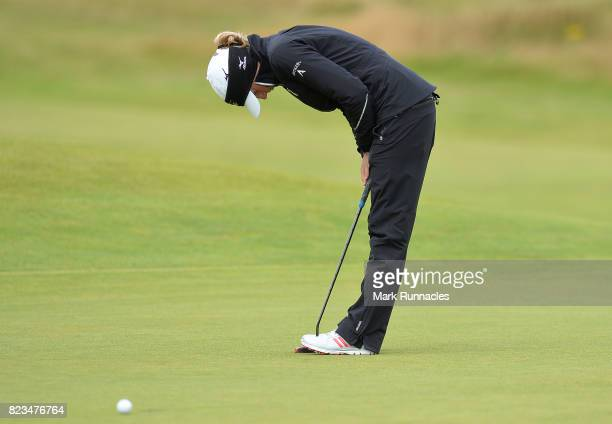 Stacy Lewis of USA putting at the 9th green during the first day of the Aberdeen Asset Management Ladies Scottish Open at Dundonald Links Golf Course...