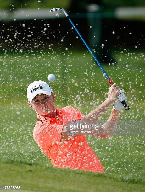 Stacy Lewis plays a bunker shot on the second hole during the second round of the KPMG Women's PGA Championship on the West Course at the Westchester...