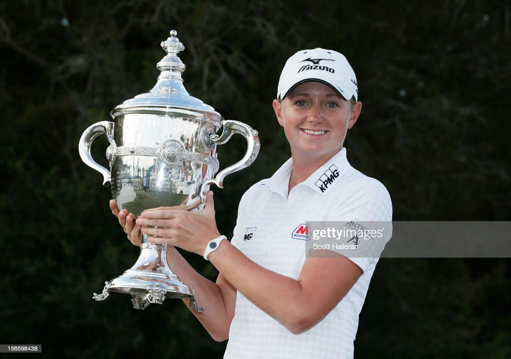 <a gi-track='captionPersonalityLinkClicked' href=/galleries/search?phrase=Stacy+Lewis+-+Golfer&family=editorial&specificpeople=4217318 ng-click='$event.stopPropagation()'>Stacy Lewis</a> poses with the 2012 Rolex Player of the Year trophy after the third round of the CME Group Titleholders at the TwinEagles Club on November 17, 2012 in Naples, Florida.