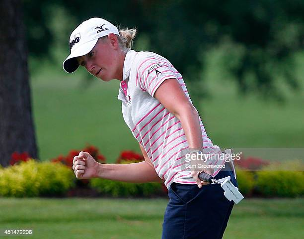 Stacy Lewis reacts to a birdie putt on the 15th hole during the final round of the Walmart NW Arkansas Championship Presented by PG at Pinnacle...