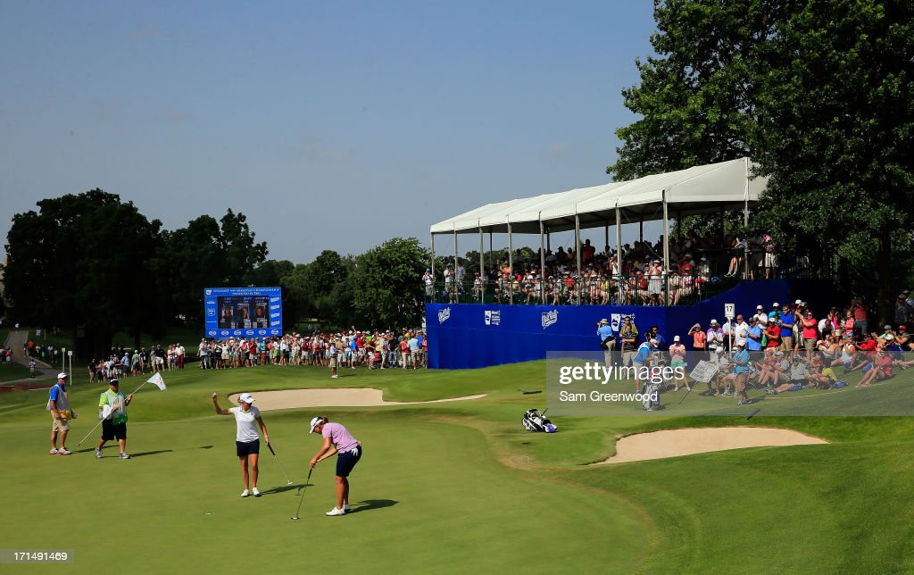 <a gi-track='captionPersonalityLinkClicked' href=/galleries/search?phrase=Stacy+Lewis&family=editorial&specificpeople=4217318 ng-click='$event.stopPropagation()'>Stacy Lewis</a> reacts to a birdie putt on the 17th hole during the second round of the Walmart NW Arkansas Championship Presented by P&G at the Pinnacle Hills Country Club on June 22, 2013 in Rogers, Arkansas.