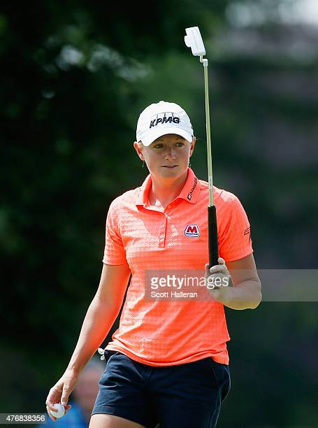 Stacy Lewis reacts to her birdie on the ninth hole during the second round of the KPMG Women's PGA Championship on the West Course at the Westchester...