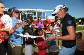 Stacy Lewis signs autograph for fans after finishing Round Three of the North Texas LPGA Shootout Presented by JTBC at the Las Colinas Country Club...