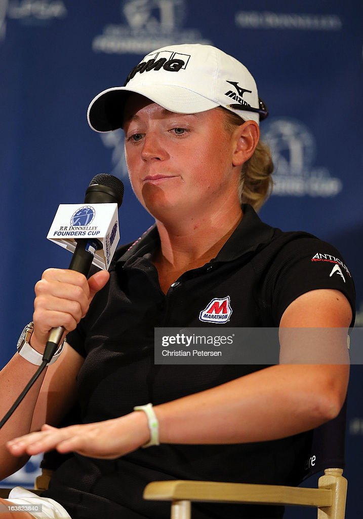 <a gi-track='captionPersonalityLinkClicked' href=/galleries/search?phrase=Stacy+Lewis+-+Golfer&family=editorial&specificpeople=4217318 ng-click='$event.stopPropagation()'>Stacy Lewis</a> speaks in a press conference about the two-shot penalty she was assessed under Rule 13-4 for caddie testing the surface of a bunker on the 16th hole in the third round of the RR Donnelley LPGA Founders Cup at Wildfire Golf Club on March 16, 2013 in Phoenix, Arizona.