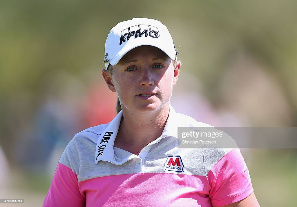 Stacy Lewis walks off the ninth green after completing the second round of the JTBC LPGA Founders Cup at Wildfire Golf Club on March 21, 2014 in Phoenix, Arizona.