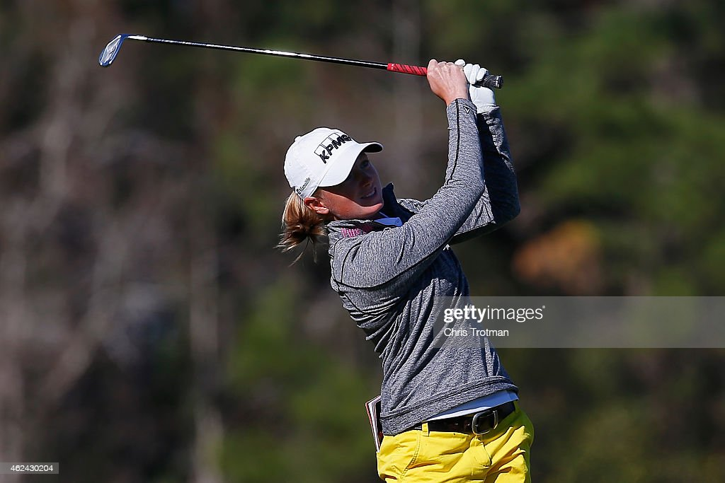 <a gi-track='captionPersonalityLinkClicked' href=/galleries/search?phrase=Stacy+Lewis&family=editorial&specificpeople=4217318 ng-click='$event.stopPropagation()'>Stacy Lewis</a> watches her second shot on the 16th hole at the Coates Golf Championship Presented by R+L Carriers - Round One at the Golden Ocala Golf & Equestrian Club on January 28, 2015 in Ocala, Florida.