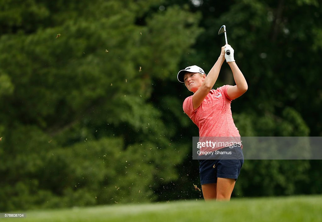 Stacy Lewis watches her second shot on the 16th hole during the final round of the Marathon Classic presented by Owens Corning and OI at Highland...
