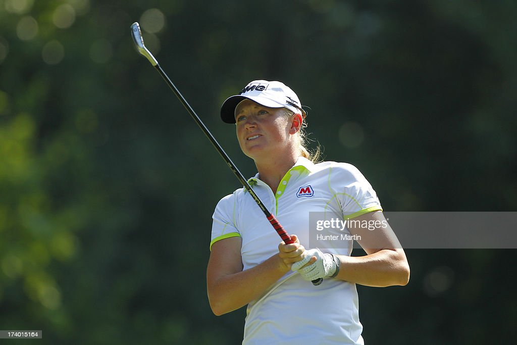 Stacy Lewis watches her tee shot on the eighth hole during round two of the Marathon Classic presented by Owens Corning & O-I on July 19, 2013 in Sylvania, Ohio.